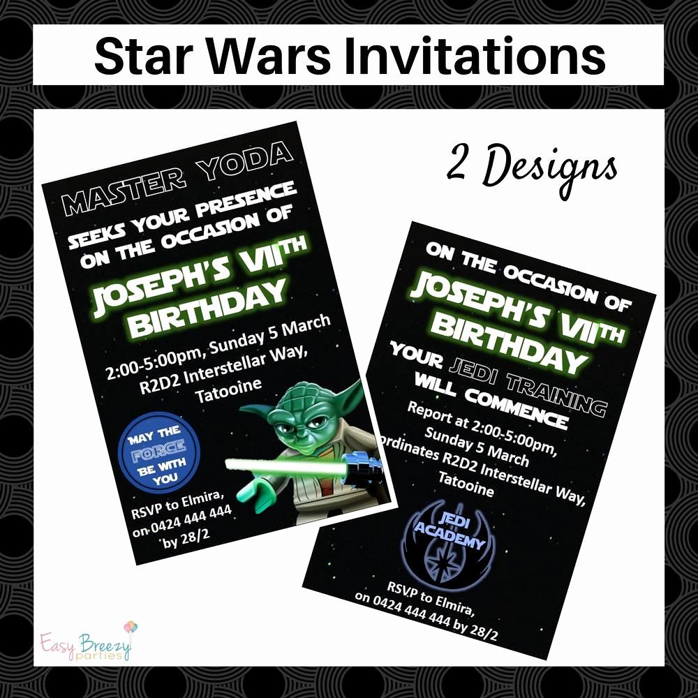 Printable Star Wars Invitation Lovely Star Wars Invitation Personalised Printable Star Wars