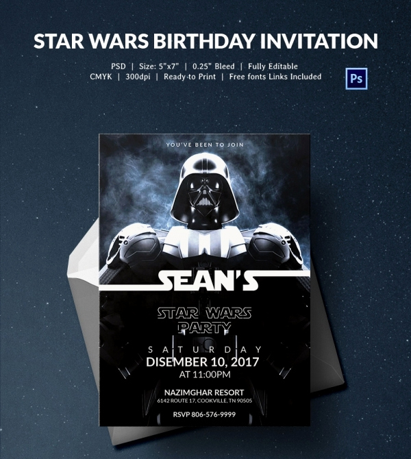 Printable Star Wars Invitation Template Awesome 23 Star Wars Birthday Invitation Templates – Free Sample