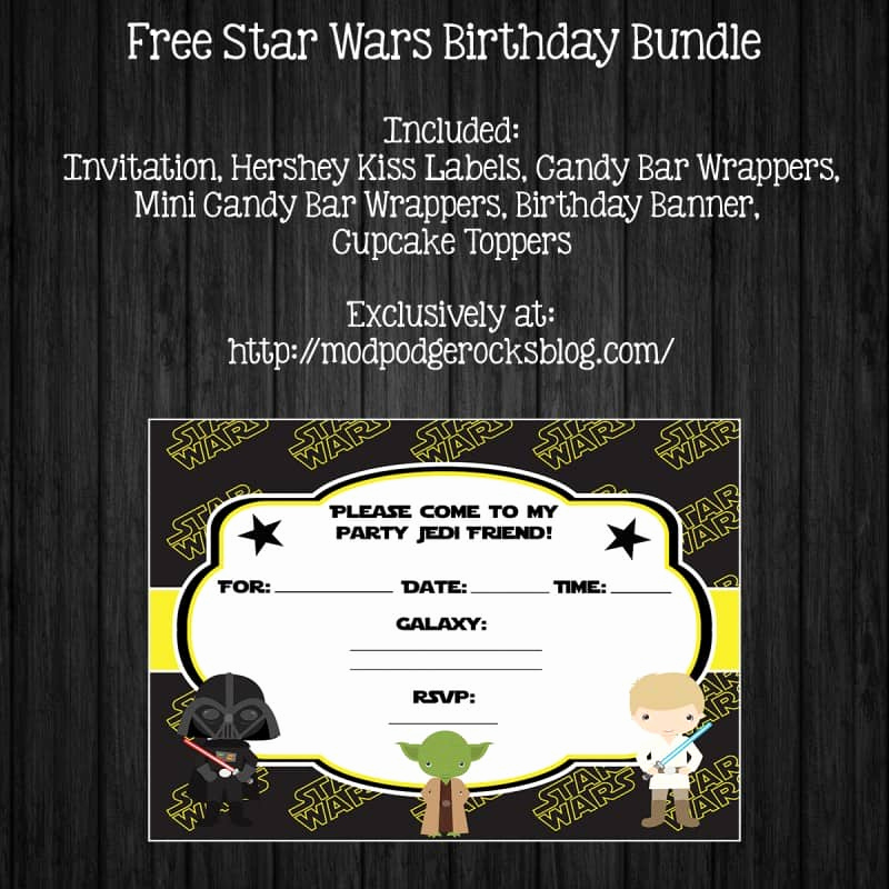 Printable Star Wars Invitation Template Fresh Star Wars Birthday Party Free Printable Pack Mod Podge