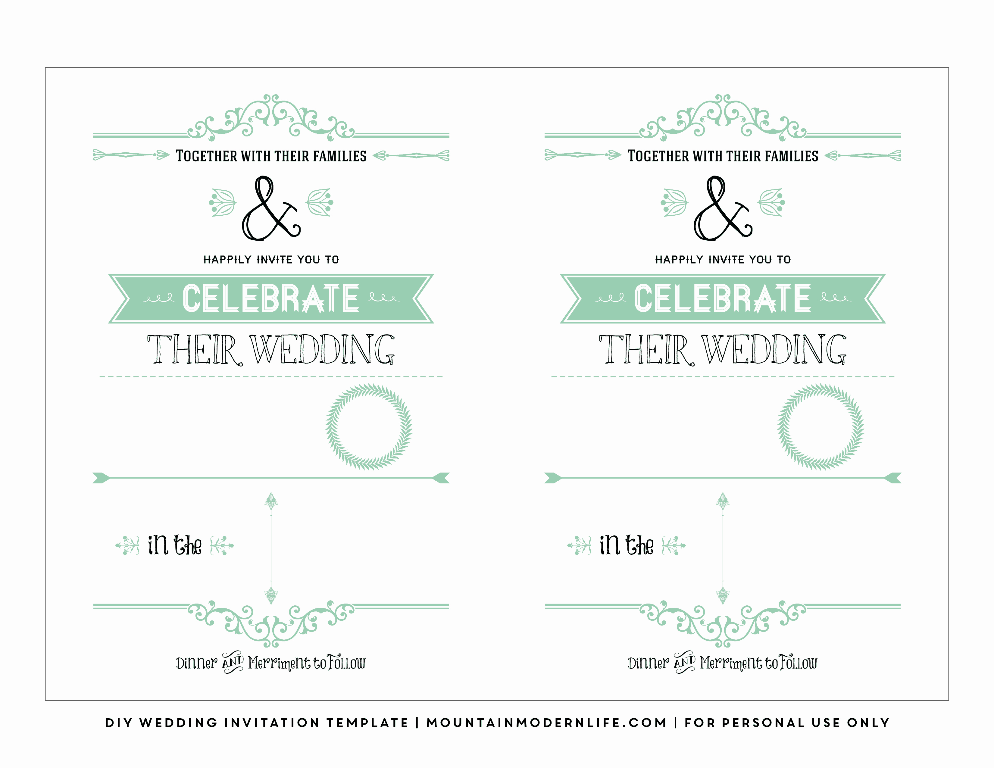 Printable Wedding Invitation Templates Beautiful Free Wedding Invitation Template