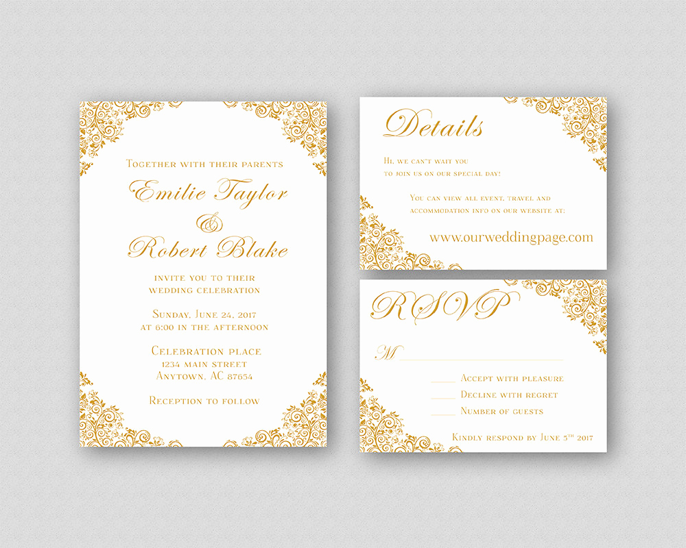 Printable Wedding Invitation Templates Elegant Wedding Invitations Gold Wedding Invitation Suite Elegant
