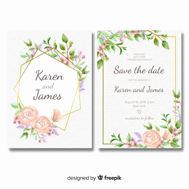 Printable Wedding Invitation Templates Fresh Floral Wedding Invitation Template with Golden Frame