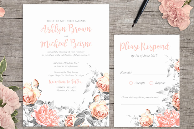 Printable Wedding Invitation Templates Lovely Rosa Romance Free Floral Wedding Invitation Printable