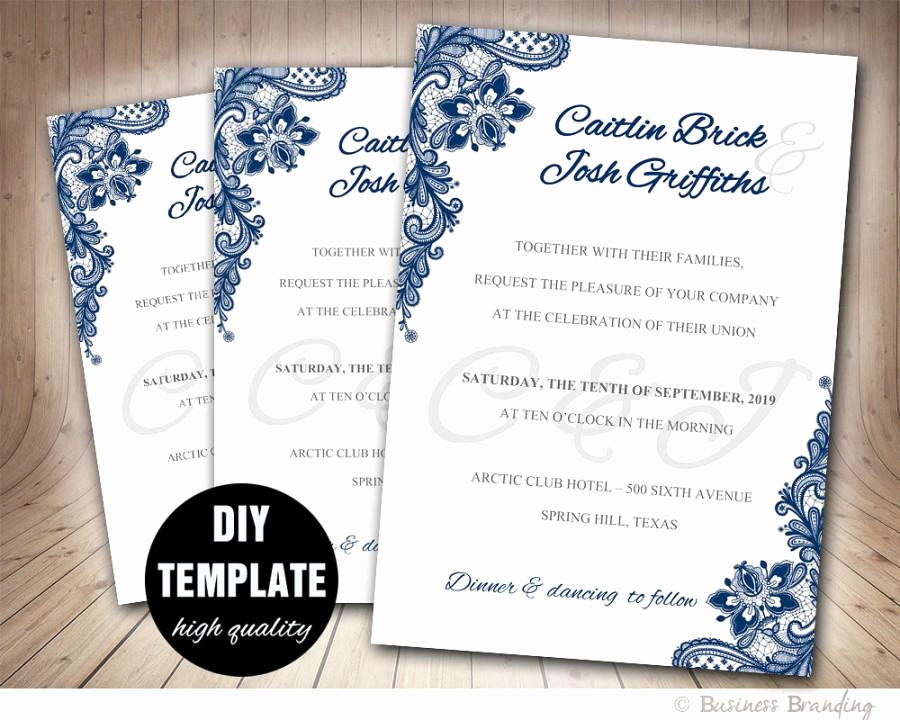 navy blue wedding invitation template diyinstant printable wedding invitationblue wedding invitelace wedding invitation