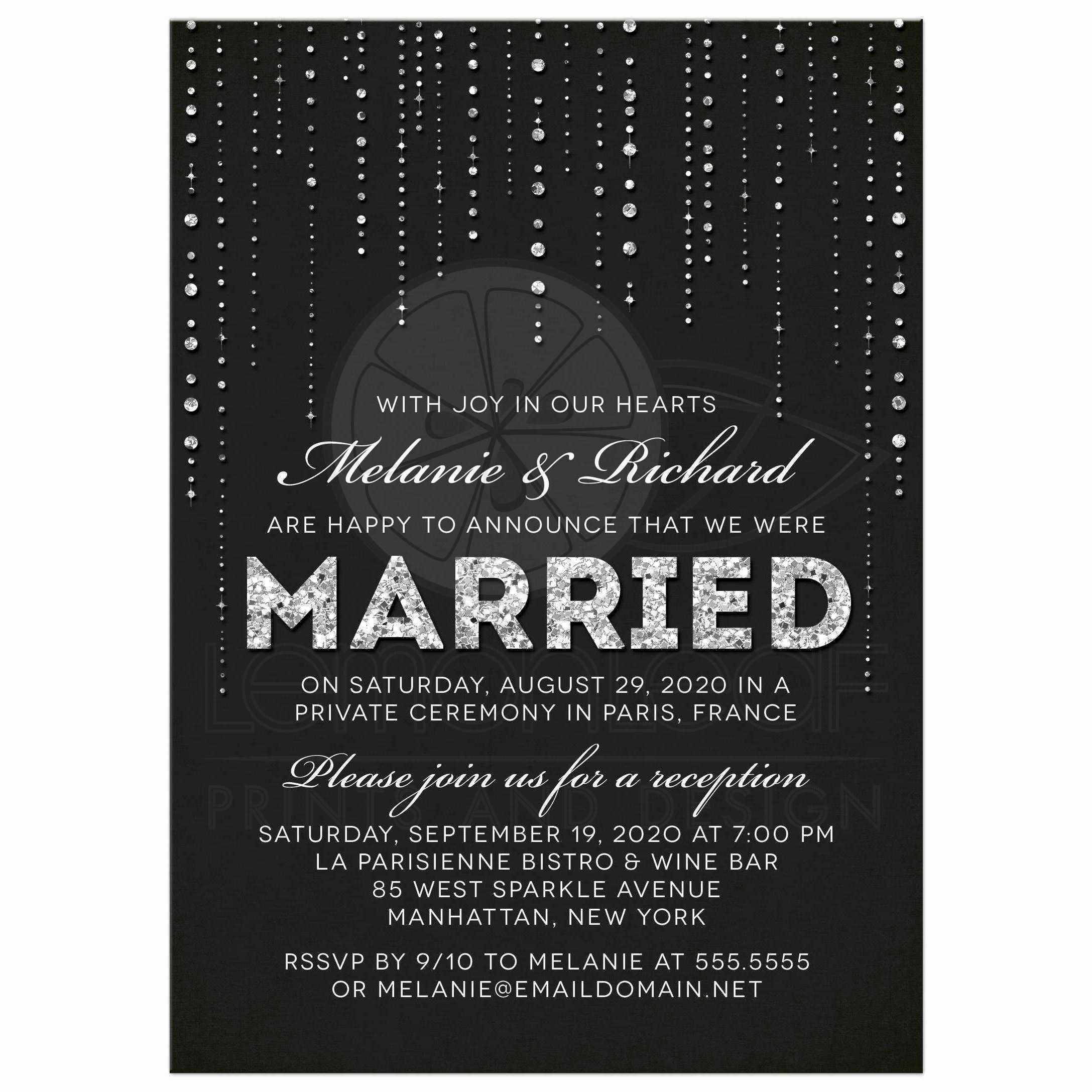 Private Wedding Ceremony Invitation Awesome Post Wedding Reception Ly Invitations Glitter Look