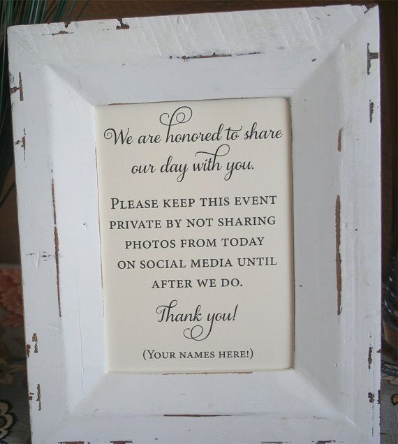 Private Wedding Ceremony Invitation Awesome Unplugged Wedding Sign No social Media 5x7 Private by