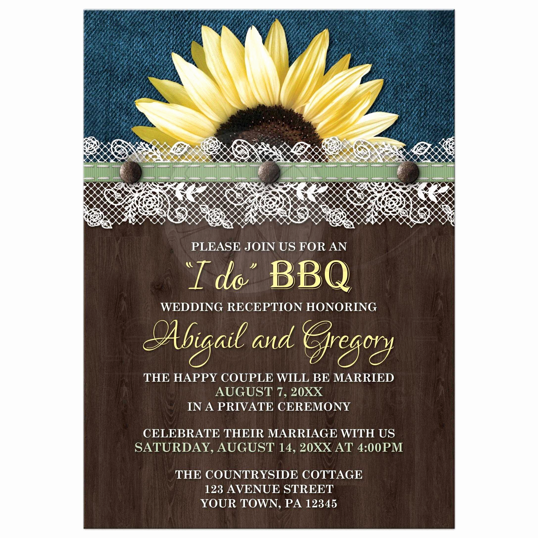 Private Wedding Ceremony Invitation Beautiful Reception Ly Invitations Sunflower Denim Wood Lace I