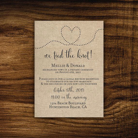 Private Wedding Ceremony Invitation Inspirational Printable Elopement Reception Invitation Reception Ly