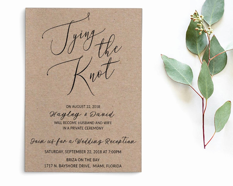 Private Wedding Ceremony Invitation Lovely Tying the Knot Elopement Wedding Announcement Private