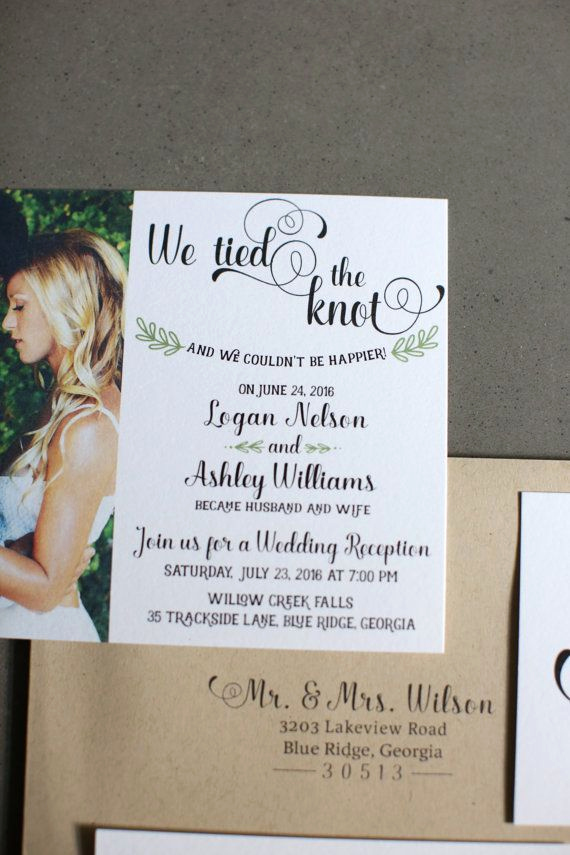 Private Wedding Ceremony Invitation Lovely Wedding Reception Invitation We Tied the Knot by