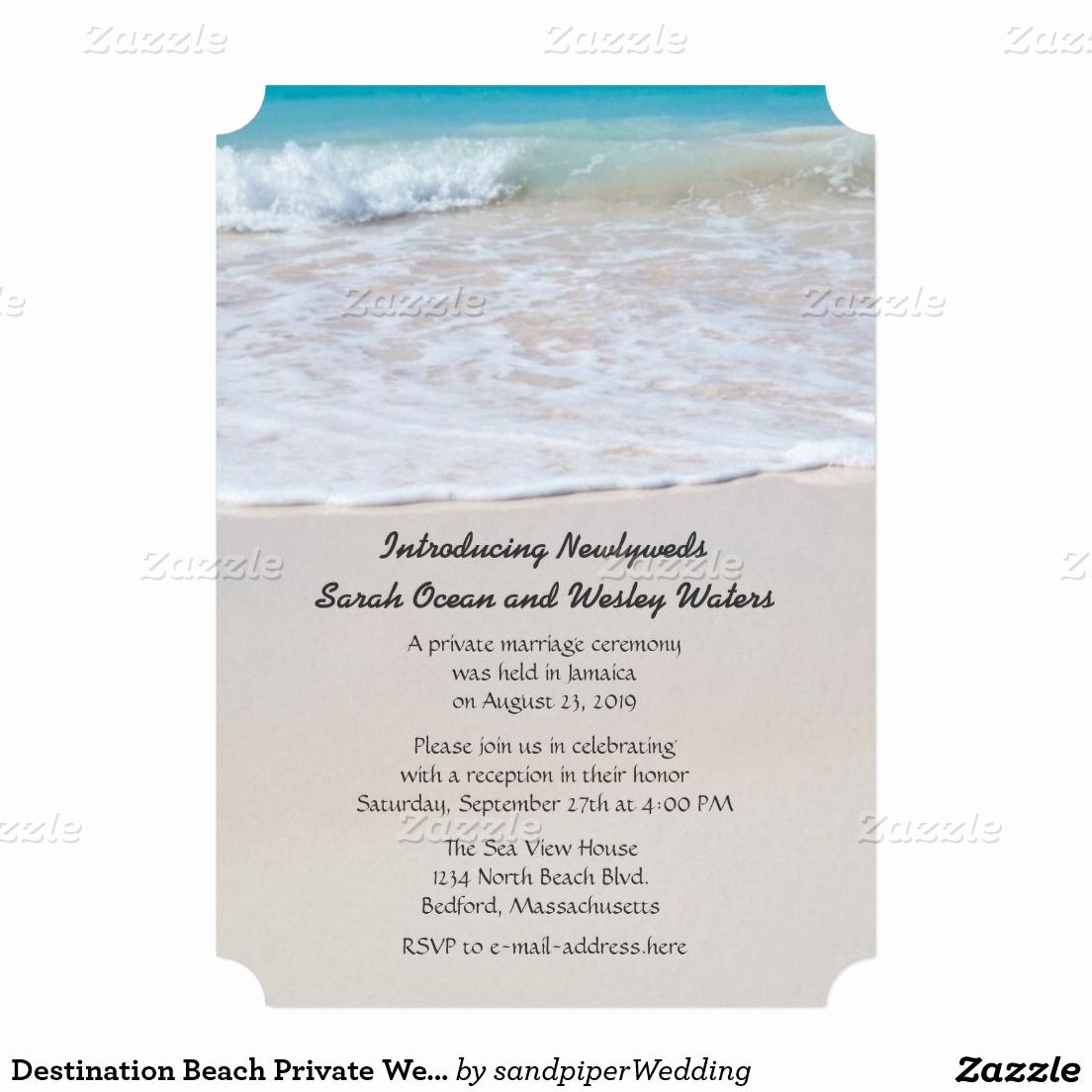 Private Wedding Ceremony Invitation Lovely Writing In the Sand Wedding Announcement