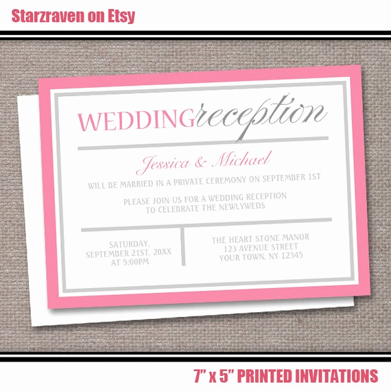 Private Wedding Ceremony Invitation Wording New Pink Reception Ly Wedding Invitations by Artisticallyinvited