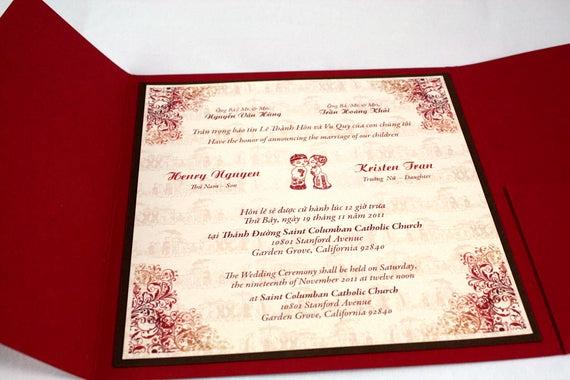 Proper Vietnamese Wedding Invitation format Awesome Bilingual English and Vietnamese Tradition Wedding Invitations
