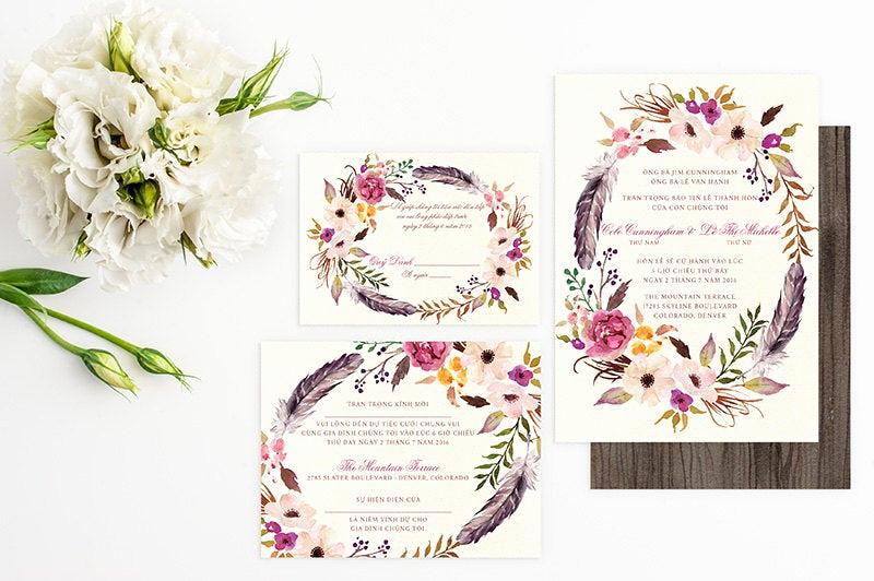 Proper Vietnamese Wedding Invitation format Awesome Vietnamese Wedding Invitation Reception and Rsvp