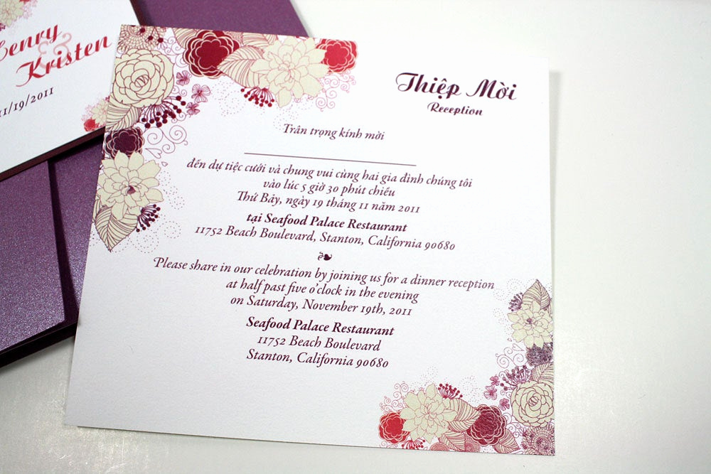 Proper Vietnamese Wedding Invitation format Beautiful Bilingual English and Vietnamese oriental Wedding Invitations