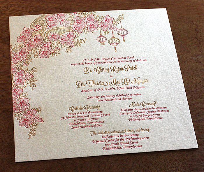 Proper Vietnamese Wedding Invitation format Elegant Indian and Vietnamese Wedding Invitation Set Mai