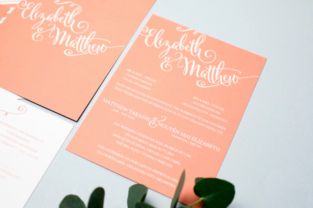 Proper Vietnamese Wedding Invitation format Elegant Sample Bilingual Vietnamese Wedding Invitation Set Script