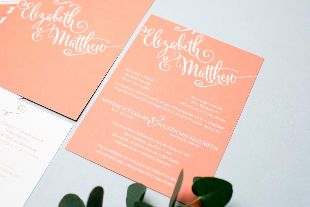 Proper Vietnamese Wedding Invitation format Elegant Sample Bilingual Vietnamese Wedding Invitation Set Script
