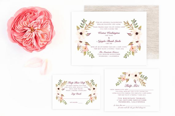 Proper Vietnamese Wedding Invitation format Elegant Vietnamese Wedding Invitation Reception and Rsvp