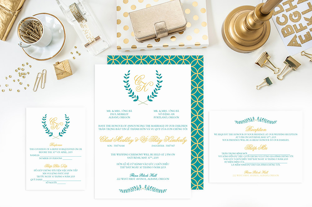 Proper Vietnamese Wedding Invitation format Lovely Wedding Invitation Set Bilingual Vietnamese Invitation