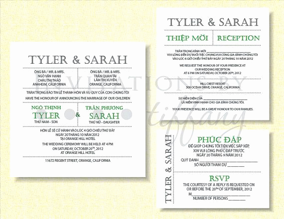 Proper Vietnamese Wedding Invitation format Luxury Word Document Bilingual Vietnamese Wedding Invitation