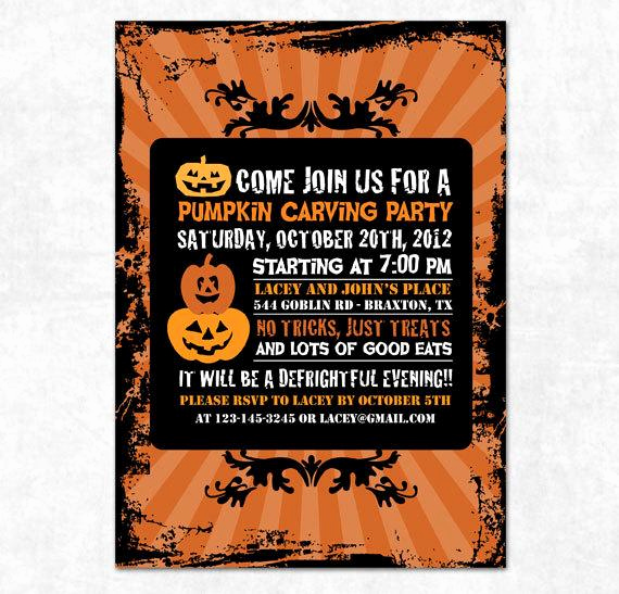 Pumpkin Carving Party Invitation Awesome Items Similar to Printable Pumpkin Halloween Invitation