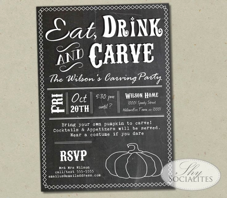 Pumpkin Carving Party Invitation Fresh Eat Drink and Carve Chalkboard Pumpkin Carving Party
