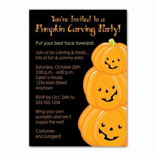 Pumpkin Carving Party Invitation Fresh Pumpkin Carving Custom Halloween Party Invitation You Print