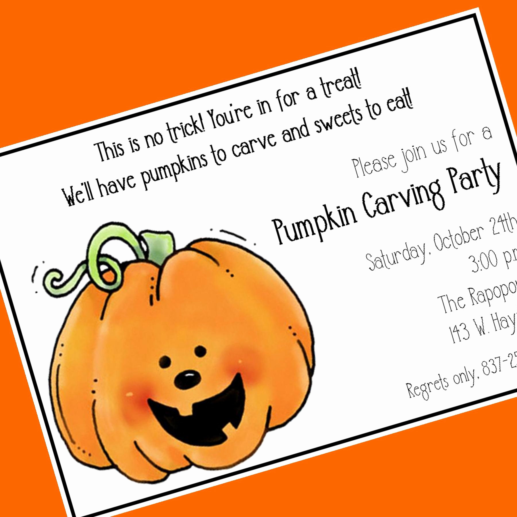 Pumpkin Carving Party Invitation Inspirational Pumpkin Carving Party Invitation Custom Wording 12