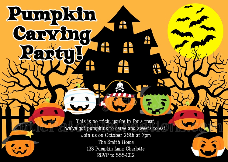 Pumpkin Carving Party Invitations Halloween Party Invitations Printable or Printed p 2734