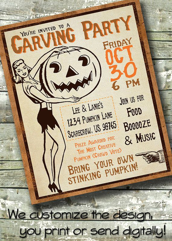 Pumpkin Carving Party Invitation Lovely Vintage Halloween Party Retro Pumpkin Carving Party