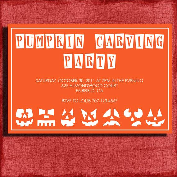 Pumpkin Carving Party Invitation New Halloween Invitation Pumpkin Carving 4x6 Invitation Diy by
