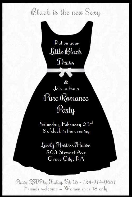 "Pure Romance Party Invitation Wording Fresh Friday Fun Black & White ""little Black Dress"" Pure"