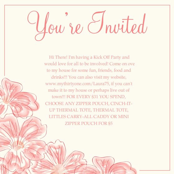 Pure Romance Party Invitation Wording Luxury Thirty One Invitation Wording