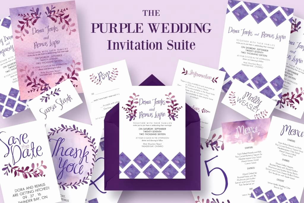 Purple Wedding Invitation Template Awesome 65 Gorgeous Wedding Invitation Templates