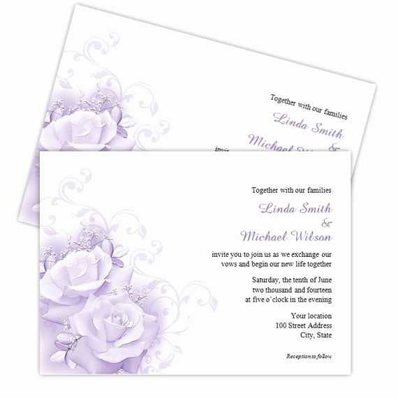 elegant purple roses wedding invitations