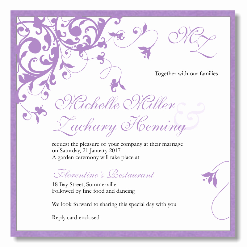 Purple Wedding Invitation Template Beautiful Bud Wedding Invitations Template Wedding Flourish