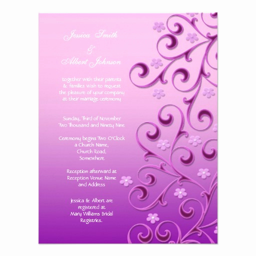 "Purple Wedding Invitation Template Beautiful Purple Floral Swirls Template Wedding Invitation 4 25"" X 5"