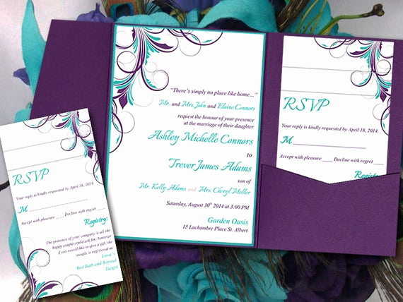 Purple Wedding Invitation Template Best Of Peacock Pocketfold Wedding Invitation Template Set Teal