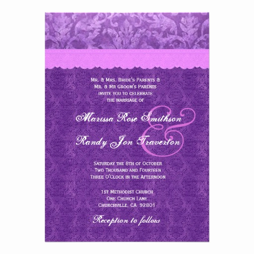 Purple Wedding Invitation Template Elegant Purple Damask Wedding Template Ver 3 13 Cm X 18 Cm