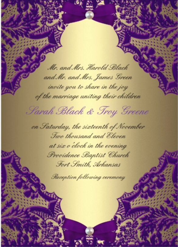 Purple Wedding Invitation Template Fresh 61 formal Invitation Templates Psd Word Ai Pages
