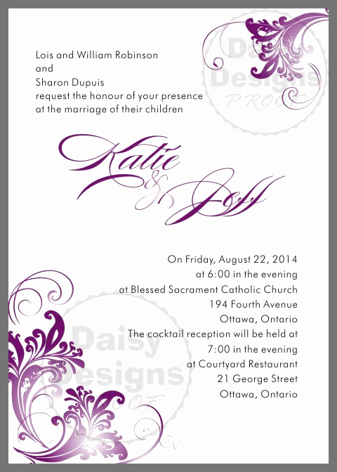 Purple Wedding Invitation Template Fresh Diy Purple and Grey Wedding Invitation Templates