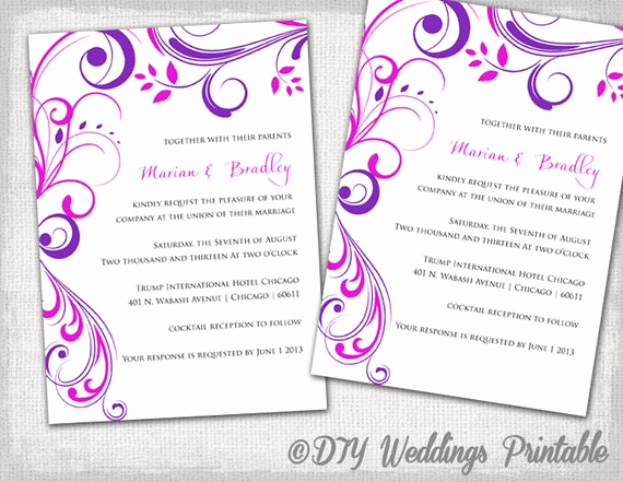 Purple Wedding Invitation Template Fresh Wedding Invitation Templates Purple and Pink