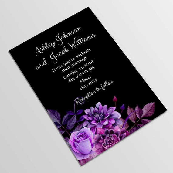 Purple Wedding Invitation Template Inspirational Black and Purple Wedding Invitation Template by