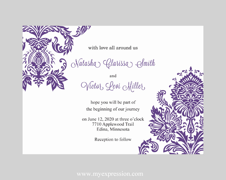 Purple Wedding Invitation Template Inspirational Wedding Invitation Template Purple Damask Instant Download
