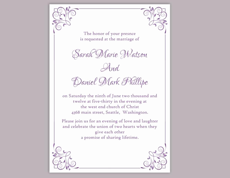 Purple Wedding Invitation Template Lovely Diy Wedding Invitation Template Editable Word File Instant
