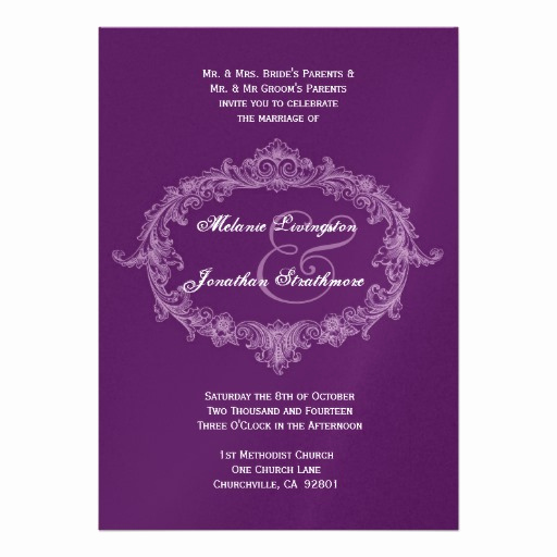 Purple Wedding Invitation Template Lovely Purple Vintage Frame Wedding Template Personalized Invites