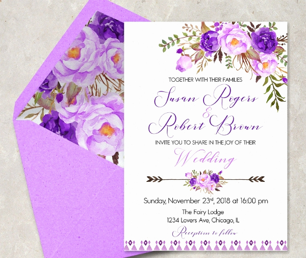 Purple Wedding Invitation Template Luxury 16 Purple Invitation Templates Psd Ai