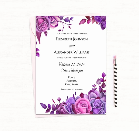 Purple Wedding Invitation Template Luxury Purple Roses Invitation Template Floral Wedding Invitation