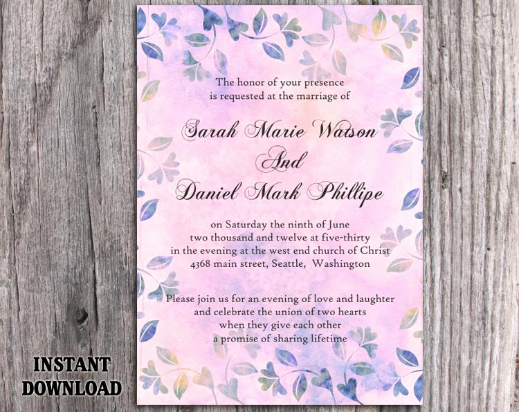 Purple Wedding Invitation Template New Diy Rustic Wedding Invitation Template Editable Word File